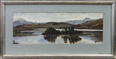 Lot 1 - LOCH DOCHART, A WATERCOLOUR BY J W FERGUSON