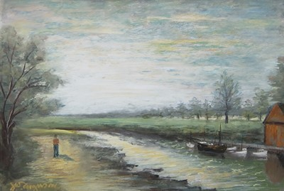 Lot 2 - STROLL ON THE BANKS, A MIXED MEDIA BY J W FERGUSON