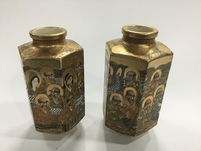 Lot 721 - A PAIR OF JAPANESE SATSUMA VASES
