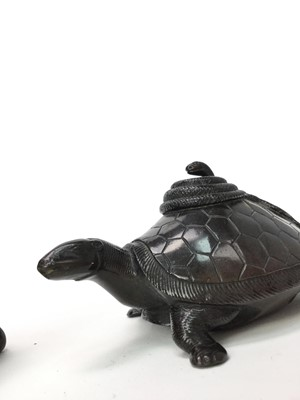 Lot 726 - A 20TH CENTURY CHINESE BRONZE POT AND A BRONZE BURNER