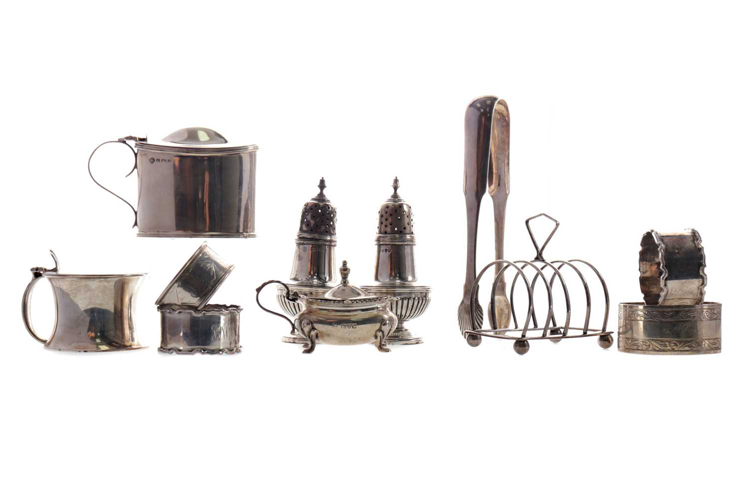 Lot 501 - A LOT OF SILVER CONDIMENTS AND NAPKIN RINGS