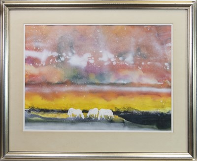 Lot 126 - THREE WHITE HORSES, A WATERCOLOUR BY JAMES SPENCE