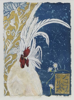 Lot 8 - JAPANESE WHITE, A MIXED MEDIA AND GOLD LEAF BY LINDSAY J KEIR