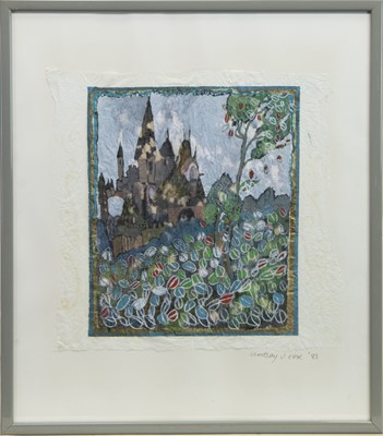 Lot 10 - TURRETS, A GOUACHE ON PAPER BY LINDSAY J KEIR