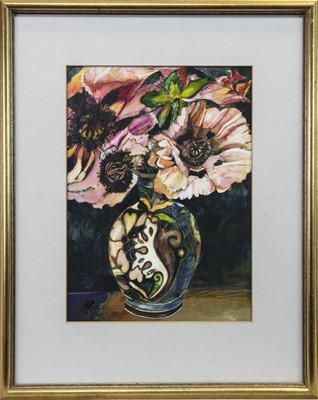 Lot 11 - VASE WITH FLOWERS, A GOUACHE BY LINDSAY J KEIR