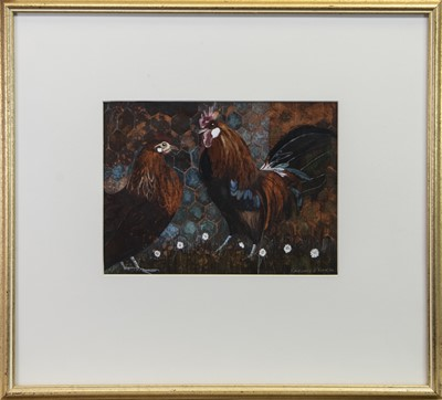 Lot 12 - TERRACOTTA CHICKENS, A GOUACHE BY LINDSAY J KEIR