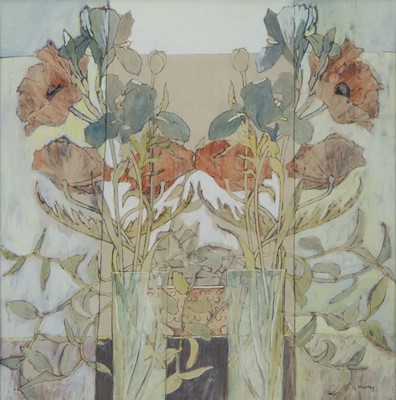 Lot 20 - POPPIES AND IRIS, A MIXED MEDIA BY GAIL MURRAY