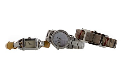 Lot 943 - TWO GUCCI WATCHES AND A BURBERRY WATCH