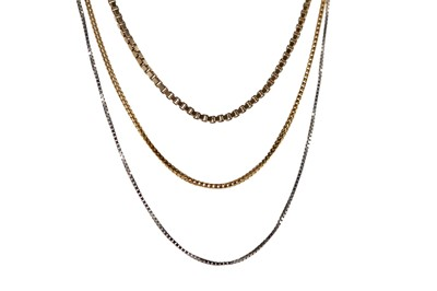 Lot 353 - TWO GOLD AND A PLATINUM CHAIN