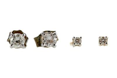 Lot 359 - TWO PAIRS OF DIAMOND STUD EARRINGS