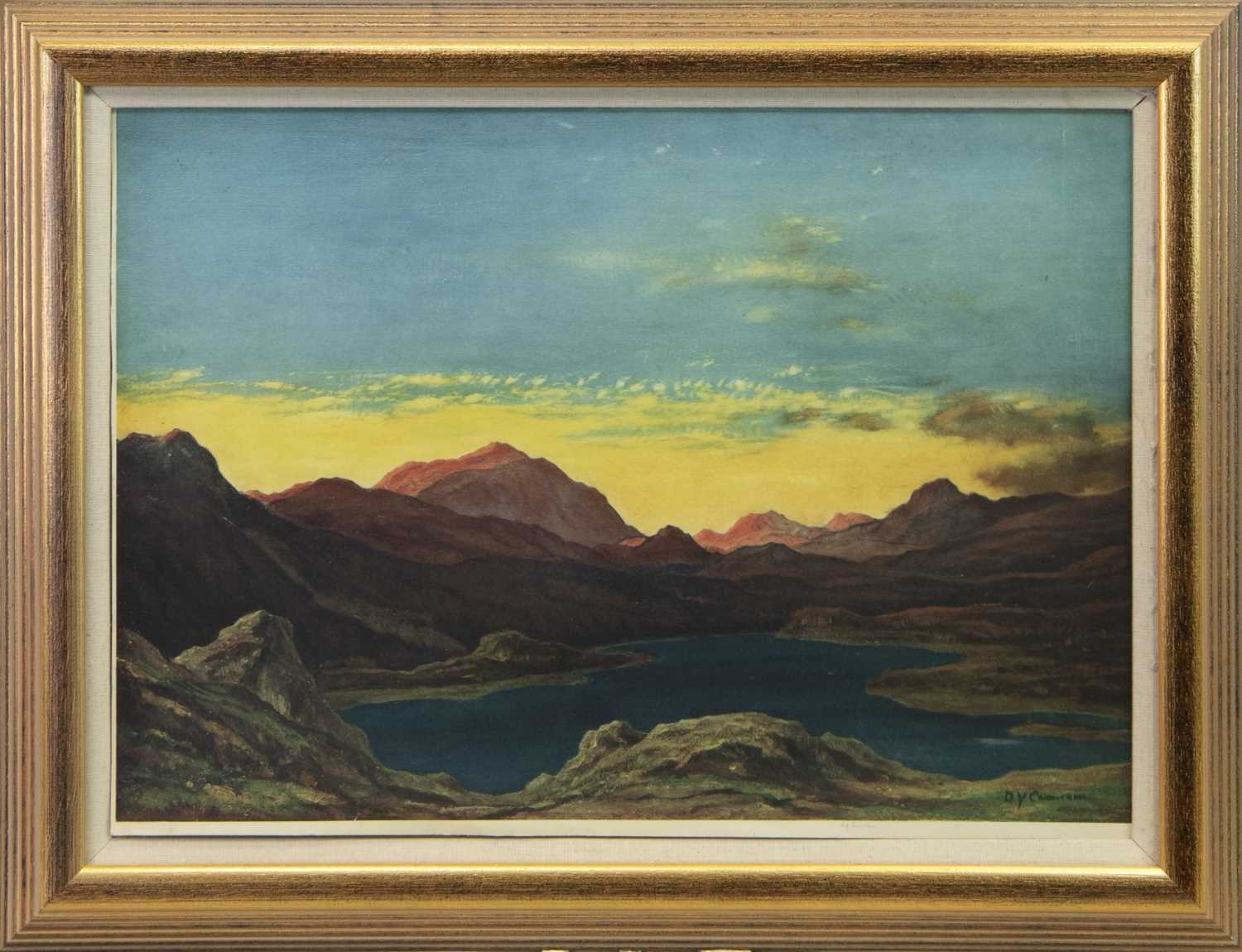 Lot 26 - SUNSET AT THE LOCH, A LITHOGRAPH BY D Y CAMERON