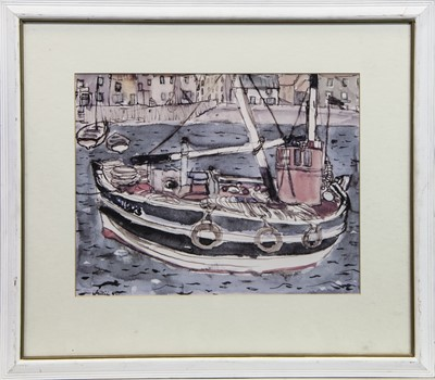 Lot 27 - THE FISHING BOAT, A LITHOGRAPH BY  SIR WILLIAM GILLIES