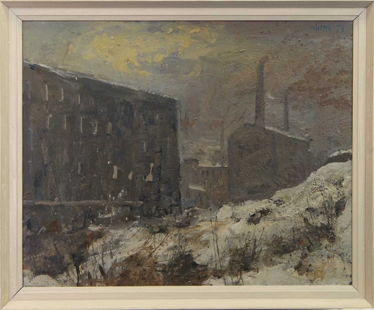 Lot 23 - FACTORIES IN THE SNOW, A MAJOR WORK BY HERBERT WHONE