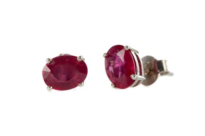 Lot 376 - A PAIR OF TREATED RUBY EARRINGS