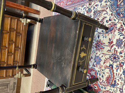 Lot 1689 - A VICTORIAN FOUR TIER EBONISED AND PAINTED WHATNOT