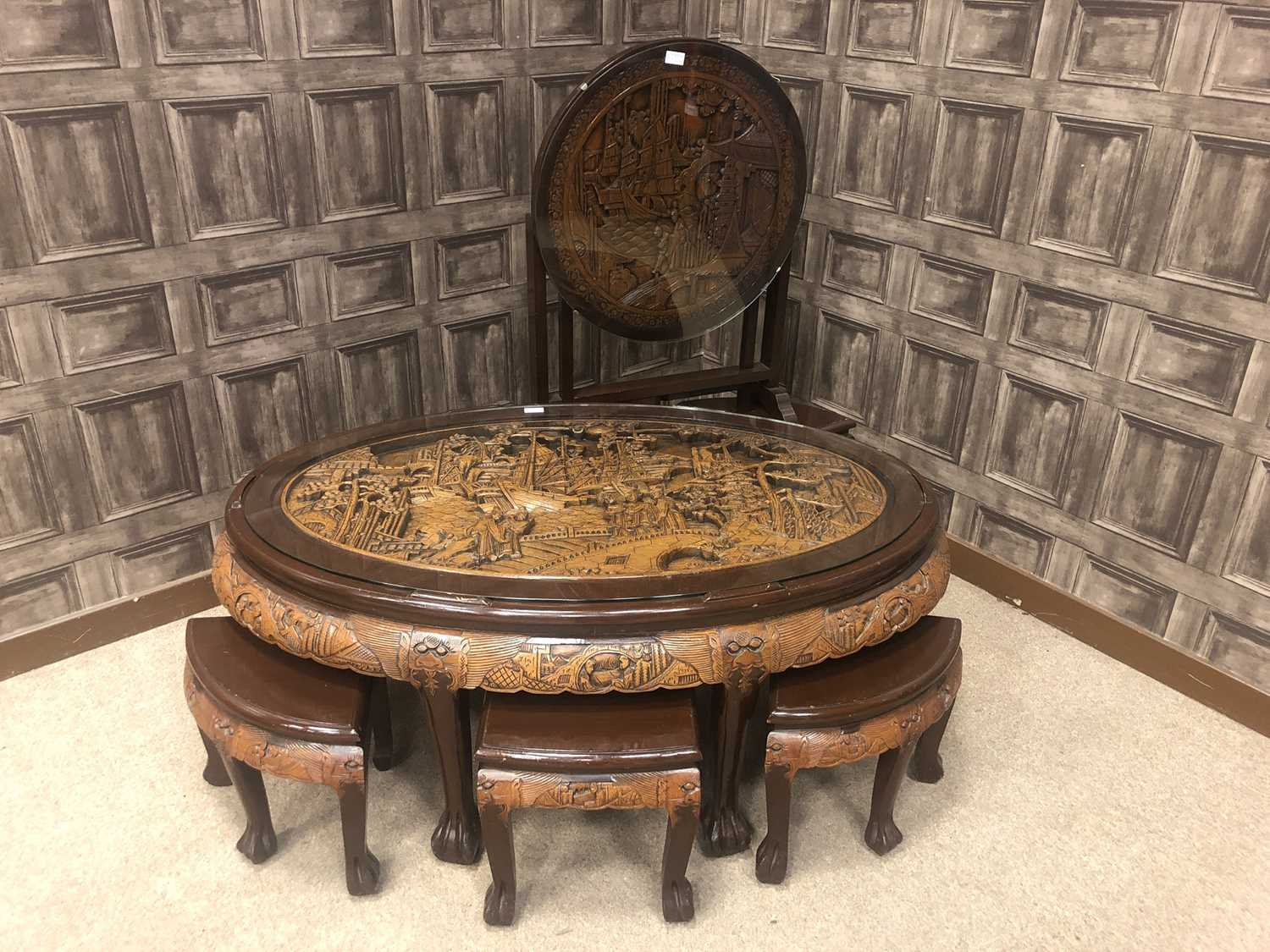 Lot 732 - A CHINESE SET OF TABLES AND A TABLE/SCREEN