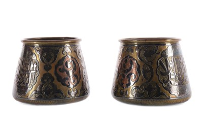 Lot 736 - A PAIR OF EASTERN BRASS, COPPER AND SILVER INLAID FERN POTS