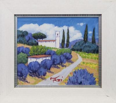 Lot 98 - CHURCH OF AQUILEA, LUCCA, TUSCANY, AN OIL BY EMILIO FAZZI