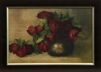 Lot 39 - ROSES, A GOUACHE BY M BROWN
