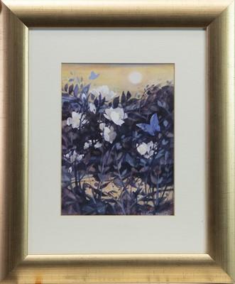Lot 38 - BLUE BUTTERFLIES, A GOUACHE BY MOIRA FERRIER