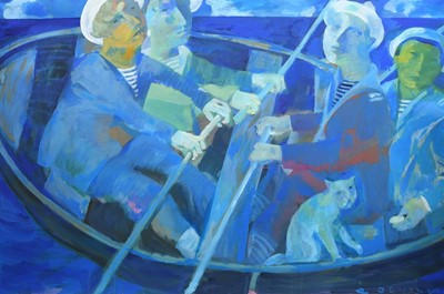 Lot 116 - BOAT TRIP, AN ACRYLIC BY ANDREI BLUDOV