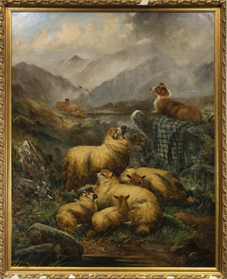 Lot 130 - THE FLOCK, AN OIL BY ALFRED MORRIS