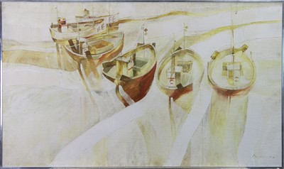 Lot 85 - SHIPS IN HARBOUR, AN OIL BY MARTIN JOHN AYNSCOMB-HARRIS