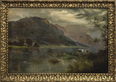 Lot 56 - CATTLE AT DISK, AN OIL BY J WALTERS