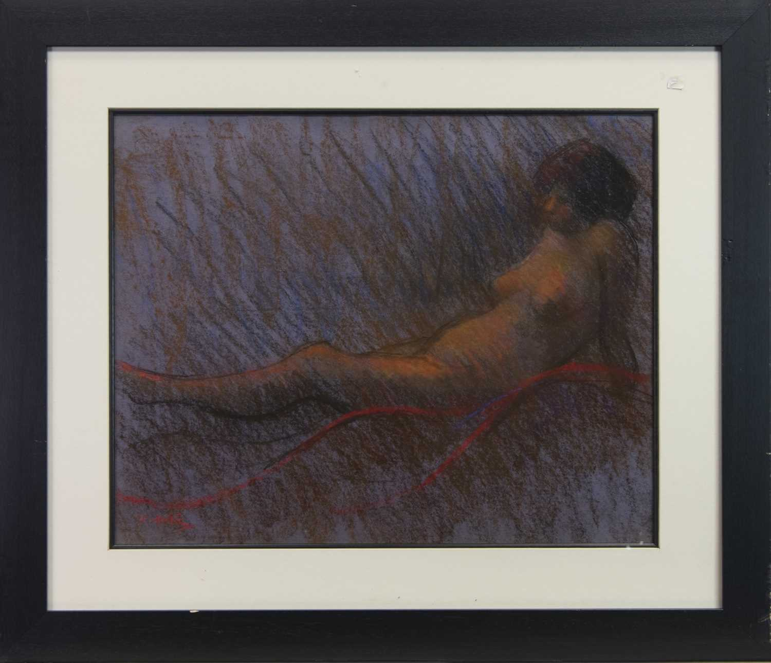 Lot 47 - RECLINING NUDE, A PASTEL BY JOHN MACKIE