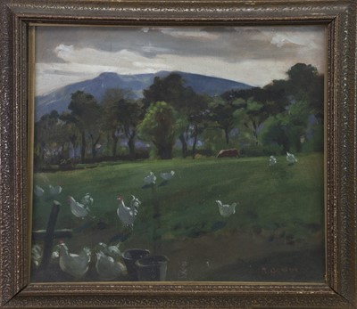 Lot 33 - CHICKENS, AN OIL BY R GRAHAM