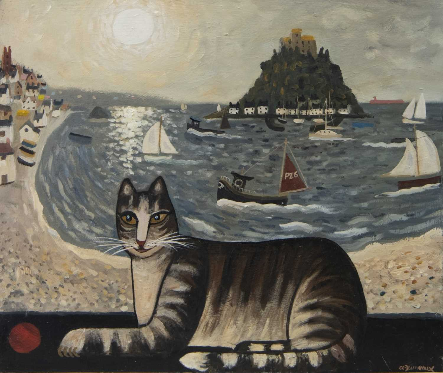 Lot 53 - PLAYFUL IZZY AT PENZANCE, AN OIL BY ALAN FURNEAUX