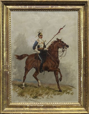 Lot 26 - SKETCH OF A TROOPER 17TH LANCERS, AN OIL BY HENRY FREDERICK LUCAS LUCAS