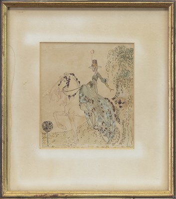 Lot 7 - THE TROT, A MIXED MEDIA ATTRIBUTED TO JESSIE MARION KING