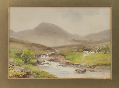 Lot 16 - IN THE DONEGAL HIGHLANDS, A MIXED MEDIA BY WILLIAM BINGHAM MCGUINNESS