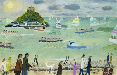 Lot 183 - SUN AT ST MICHAELS MOUNT, AN OIL BY ALAN FURNEAUX