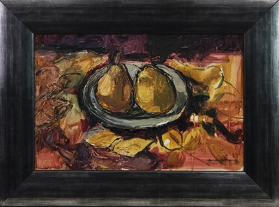 Lot 174 - STILL LIFE WITH PEARS, AN OIL BY HILDA GOLDWAG
