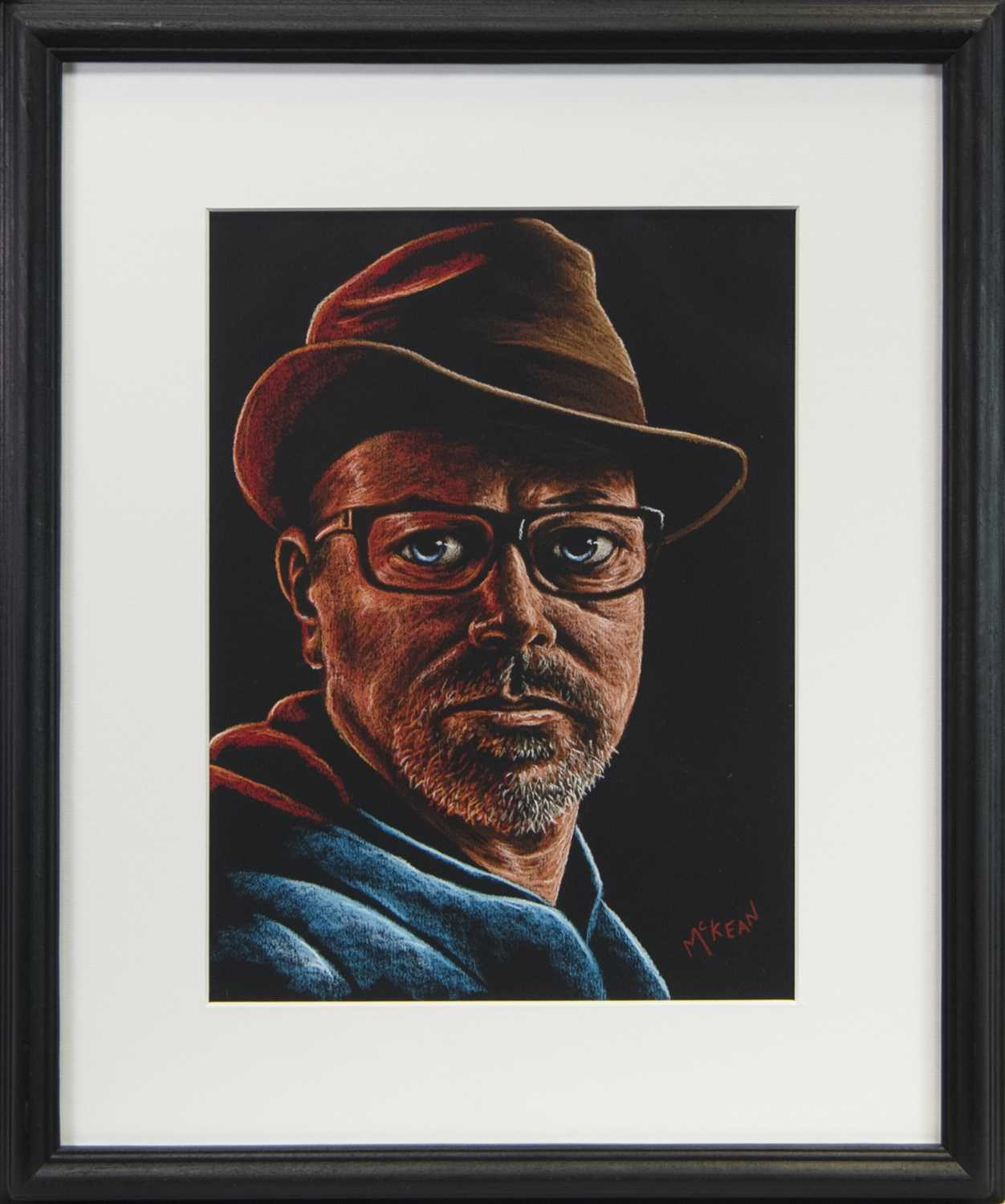 Lot 102 - SELF PORTRAIT WITH GRANDFATHER'S HAT, A PASTEL BY GRAHAM MCKEAN