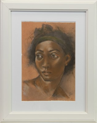 Lot 551 - STUDY IN TERRACOTTA, AN OIL AND PASTEL BY ROS GREEN
