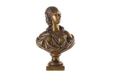 Lot 1618 - A LATE 19TH CENTURY GOLDSCHEIDER BRONZE BUST OF A LADY