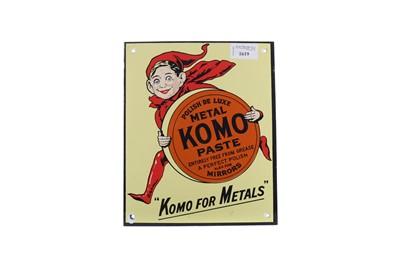 Lot 1374 - AN ENAMEL 'KOMO FOR METALS' ADVERTISING SIGN