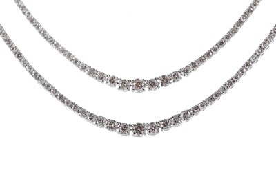 Lot 396 - A DIAMOND TWO ROW NECKLACE