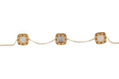 Lot 442 - A ROBERTO COIN 'POIS MOI' MOTHER OF PEARL AND DIAMOND SET BRACELET