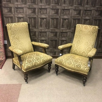 Lot 1620 - A PAIR OF VICTORIAN OAK FRAMED ARMCHAIRS