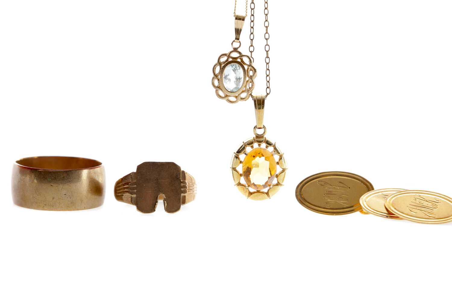 Lot 1316 - TWO GEM SET PENDANTS, PAIR OF CUFFLINKS AND TWO RINGS
