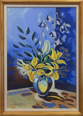 Lot 1 - FLORAL STILL LIFE, A PASTEL BY CAMPBELL SMITH