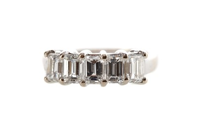Lot 1318 - EMERALD CUT DIAMOND FIVE STONE RING