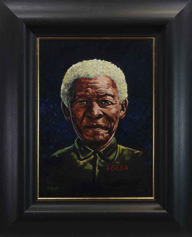 Lot 20 - NELSON MANDELA, AN OIL BY GRAHAM MCKEAN