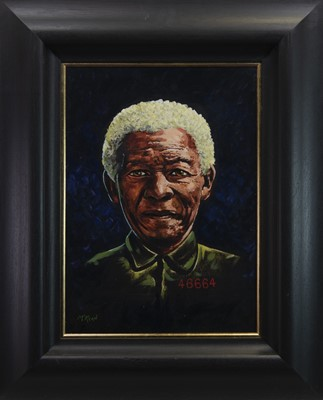 Lot 20 - NELSON MANDELA, AN OIL BY GRAHAM MCKEAN