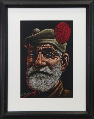 Lot 51 - THE VETERAN, A PASTEL BY GRAHAM MCKEAN