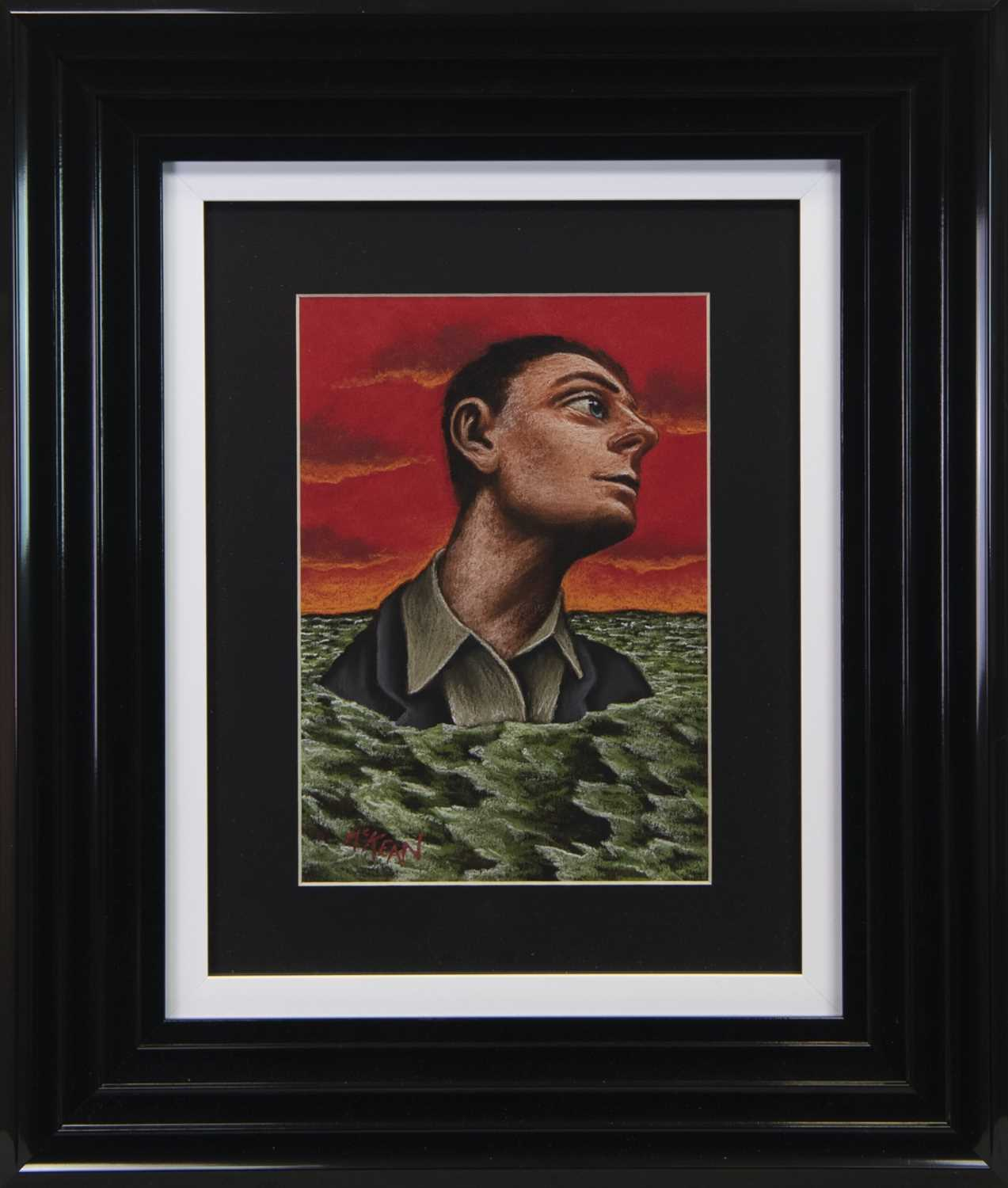Lot 95 - HEAD IN THE WAVES, A PASTEL BY GRAHAM MCKEAN
